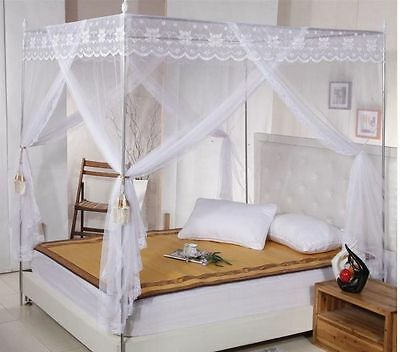 White Lace 4 Corners Post Bed Canopy Mosquito Net For Twin Queen Cal King Size