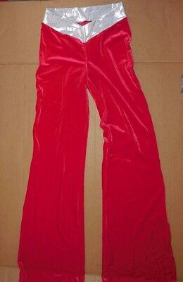 NWT RED Vfront silver Velvet Spandex Bootcut Jazz Pants Dance Costume CH/ Ladies