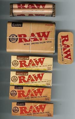 2pks Organic+2pks Classic 1 1/4 RAW Rolling Papers+Roller+Slide Top Storage box