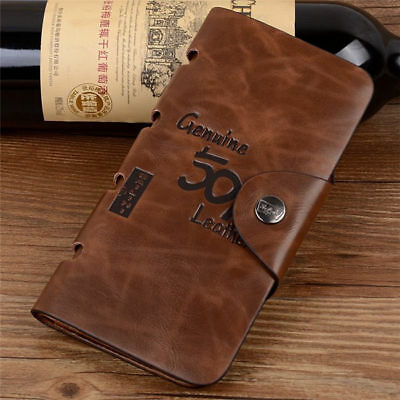 Mens Long Leather Bifold 501 buckle wallet Credit/ID Card Purse
