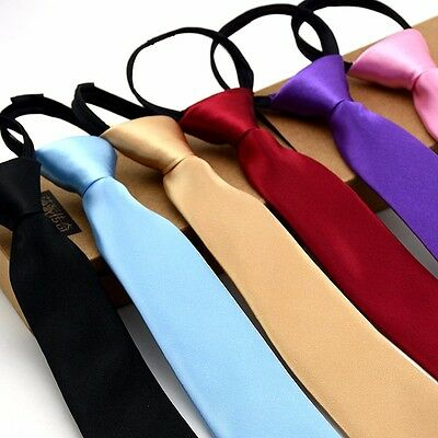 Men Fashion Skinny Zipper Tie Narrow Satin Solid Necktie Wedding Business Tie
