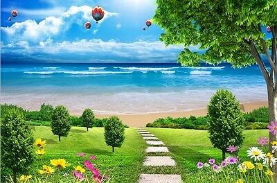 3D Seaside Beach Plant Trail Paper Wall Print Decal Wall Deco Indoor wall Murals