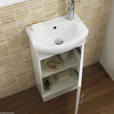 Bathroom Cloakroom Compact White Gloss Vanity Unit Cabinet with Ceramic Basin