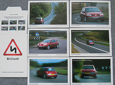 Renault Megane II 2002 Postcard Set of 6 Great Corners Mint Condition in Packet