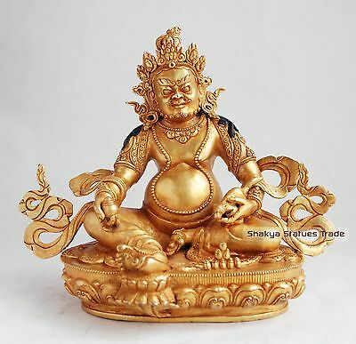 """Hand Carved 9.25"""" Yellow Jambhala Copper Alloy Gold Gilded Antique Finish Statue"""
