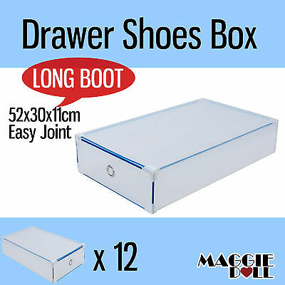 12x Extra Large Long Boot NEW Clear Plastic See Through Drawer Shoe Storage Box