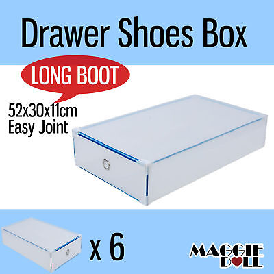 6x Extra Large Long Boot NEW Clear Plastic See Through Drawer Shoe Storage Box
