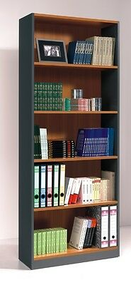 CLEARANCE Primo 5 Tier Bookcase Office Furniture Open Shelving Chestnut Grey