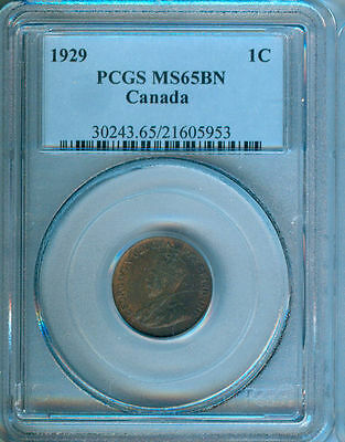 1929 Canada Small Cent Pcgs Ms-65 Bn