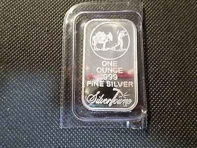 Silver Towne Prospector  Silver  Bar 1 Oz .999 Silver Sealed In Plastic