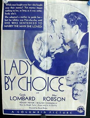 Carole Lombard Lady By Choice Original Vintage Us Pressbook Herald