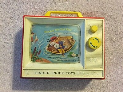 Vintage Fisher Price Giant Screen Music Box TV Used Works Wind Up Toy
