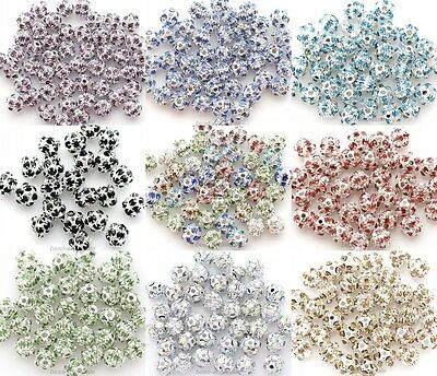 20 Pcs 6/8mm Crystal Rhinestone Silver Plated Disco Ball Beads Findings