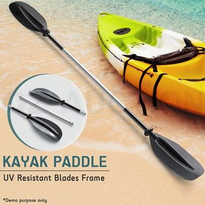 Boat Kayak Canoe Lightweight 220cm Black Alloy Aluminium  Shaft Paddle Fishing