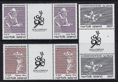 1998 Norfolk Island Commonwealth Games Set Of 3 Illustrated Gutter Pairs Mnh/muh