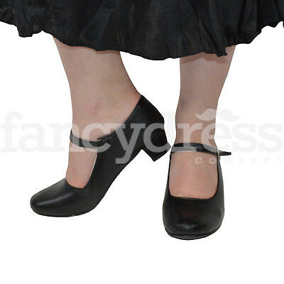 Girls Black Spanish Flamenco Shoes Dance World Book Week Costume NEW