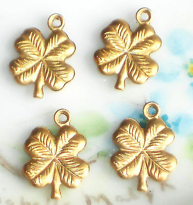 #1419B Vintage Charms 4 Leaf Clover Gold Plated NOS Irish Four Clovers Stamp NOS