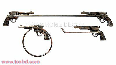 Gun 3 Piece Bathroom Set Towel Bar Ring Toilet Paper Holder Cast Iron Western