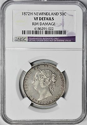 1872-H Newfoundland Fifty Cents Silver NGC VF-Details Canada Provincial 50c Coin