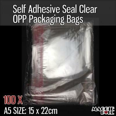 100X A5 Size 15cm x 19cm Self Adhesive Seal Clear Plastic OPP Packaging Bags