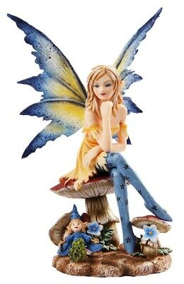 Amy Brown Collectible Blue Magician Fairy on Mushroom Statue Faerie Figurine