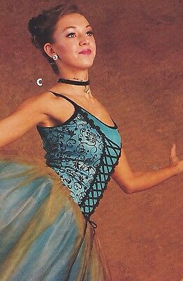 NWT Gold Touched European Length Ballet Costume BLUE Scrollwork bodice 5 tr tutu