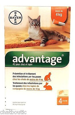 Advantage 40 Chat et Lapin  - 4 pipettes de 0,4 ml (106B)