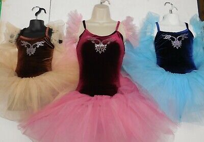 NWT Rhinestoned Dance COSTUME Ballet w/ short TUTU Navy, brown or Wine ch/adult
