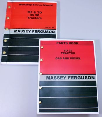 Lot Massey Ferguson To-35 Tractor Parts Book Service Repair Shop Manual Workshop