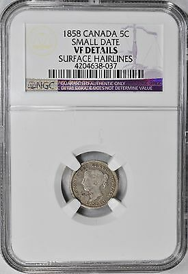 1858 Five Cents Canada NGC VF-Details Very Fine-Details 5c Small Date Variety