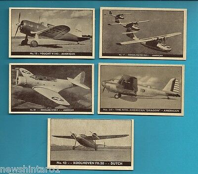 #d199. Five 1938-42 Airplane Cards, Planes Of Other Nations #17, 13, 20, 25 & 43