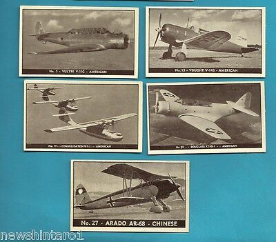 #D199. Five 1938-42 Airplane Cards, Planes Of Other Nations #5, 13, 17, 20 & 27