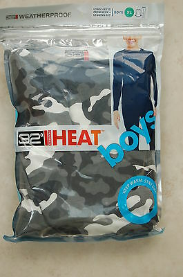 2 Pce Boys 32 Degrees Heat Thermal Layer Top & Leggings Grey Camo Size XL