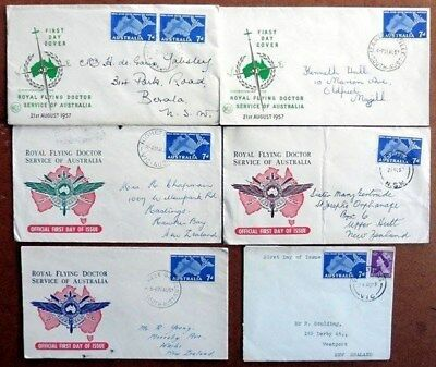 AUSTRALIA FDC's 1957 x5 CACHET COVERS ROYAL FLYING DOCTOR (ID:111/D33956)