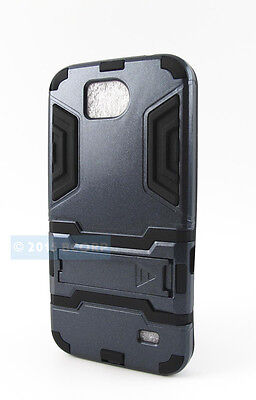 For Zte Overture 2 Z813 Fanfare Z792 Full Black Rugged Armor Hybrid Case Cover