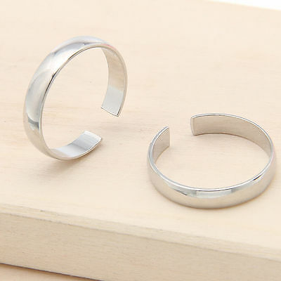 Silver Plated Toe/Finger Ring Adjustable Plain Band Beach Foot Jewelry Charms