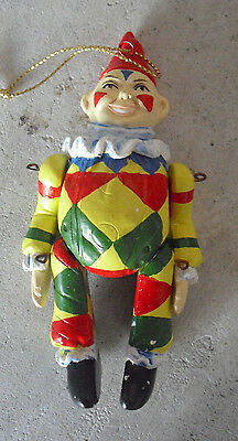 """Vintage 1970s Jointed Ceramic Clown Christmas Ornament 4 1/2"""" Tall"""