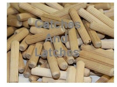 WOODEN DOWELS Pins Plugs Hardwood Fluted BEECH 6mm, 8mm or 10mm Size in Packs