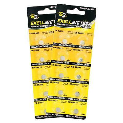 2pc 10pk Exell EB-SR621 Silver Oxide 1.5V Watch Battery for SR621SW, 364