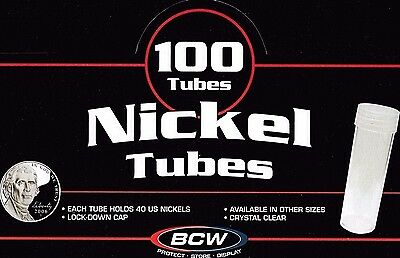 100 Round Nickel Coin Tubes with Screw Cap Crystal Clear Quality Buffalo