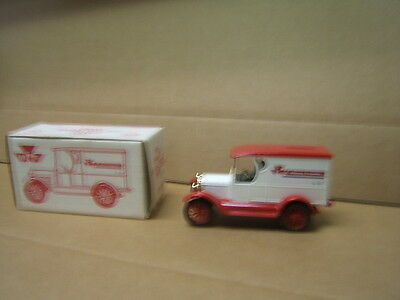 Ertl 1923 Chevy 1/2 ton bank truck Massey Ferguson No. 301 VGC w box red & white