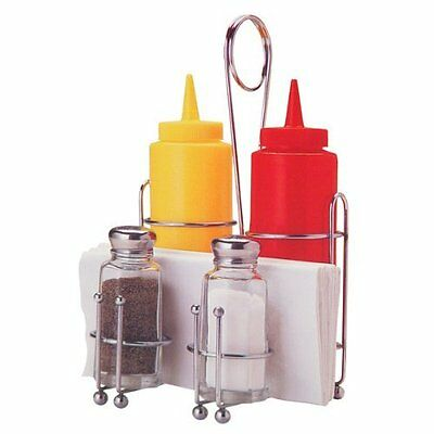 Condiment Caddy Set Diner Restaurant Retro Style Salt Pepper Ketchup Mustard Rac