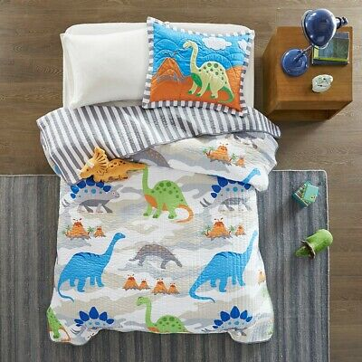JURASSIC Twin (single) QUILT SET : BOYS WHITE BLUE REX DINOSAUR DINO COVERLET
