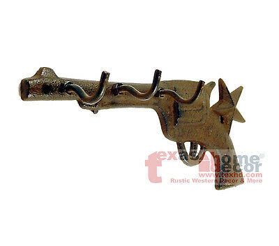 Western Rustic Cast Iron Key Holder Pistol 6 Shooter Star Metal 3 Hooks Gun