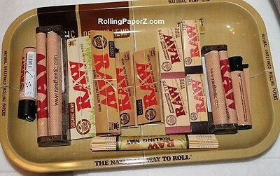 RAW LOT Organic Hemp/Classic ROLLING PAPERS+TRAY+TIPS+MACHINE+LIGHTER+BAMBOO MAT