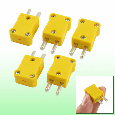 5pcs K Type Thermometer Thermocouple Wire Cable SMPW-K-M Connector Yellow