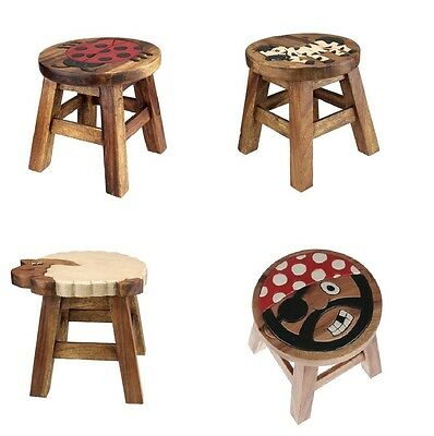 New Wooden Animal Design Small Kids Chair Seat Hand Painted Childs Foot Stool