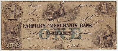 Farmers And Merchants Bank Memphis Tennessee 4.4.1854 $1.00