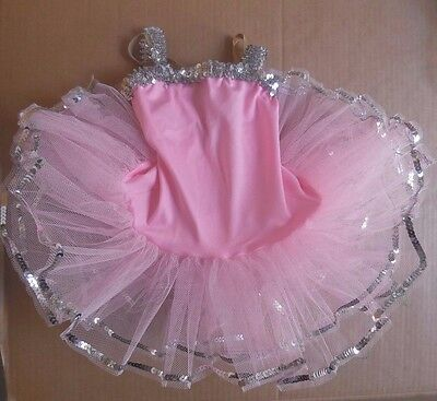 NWT Ballet Costume Pink  w/ Silver Sequin attached tutu adjustable strap