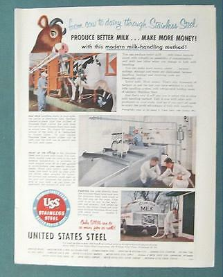 1955 USS Dairy Products Ad Endorsed by James Vetch of Lake Geneva Wisconsin